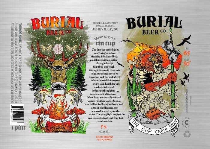 Burial Beer Co. Tin Cup Beer Label