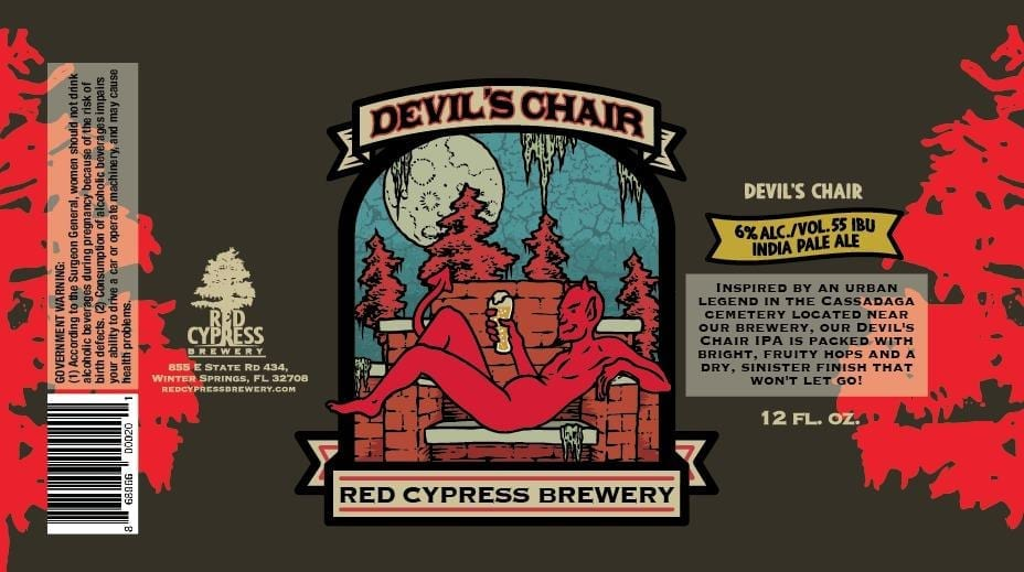 Red Cypress Brewery Devil's Chair Beer Label