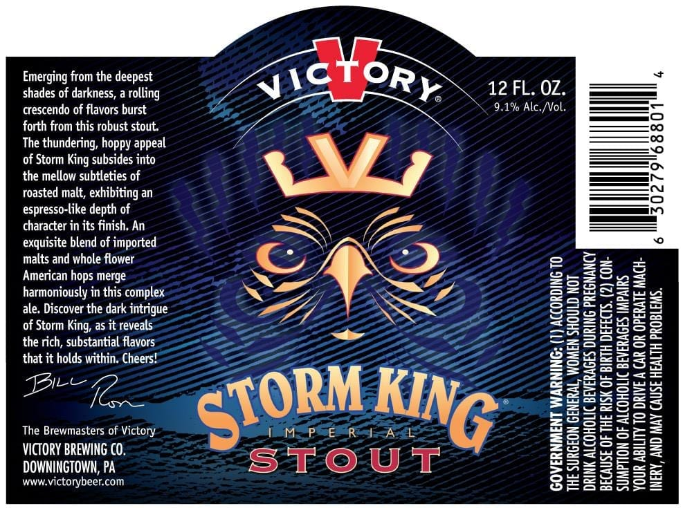 Previous version of Victory Brewing's Storm King beer label