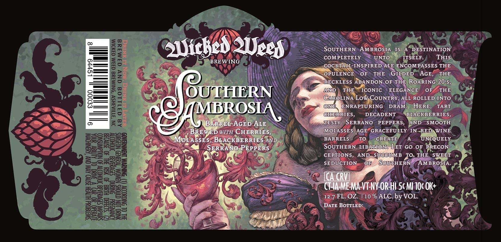 Wicked Weed Brewing Southern Ambrosia Label