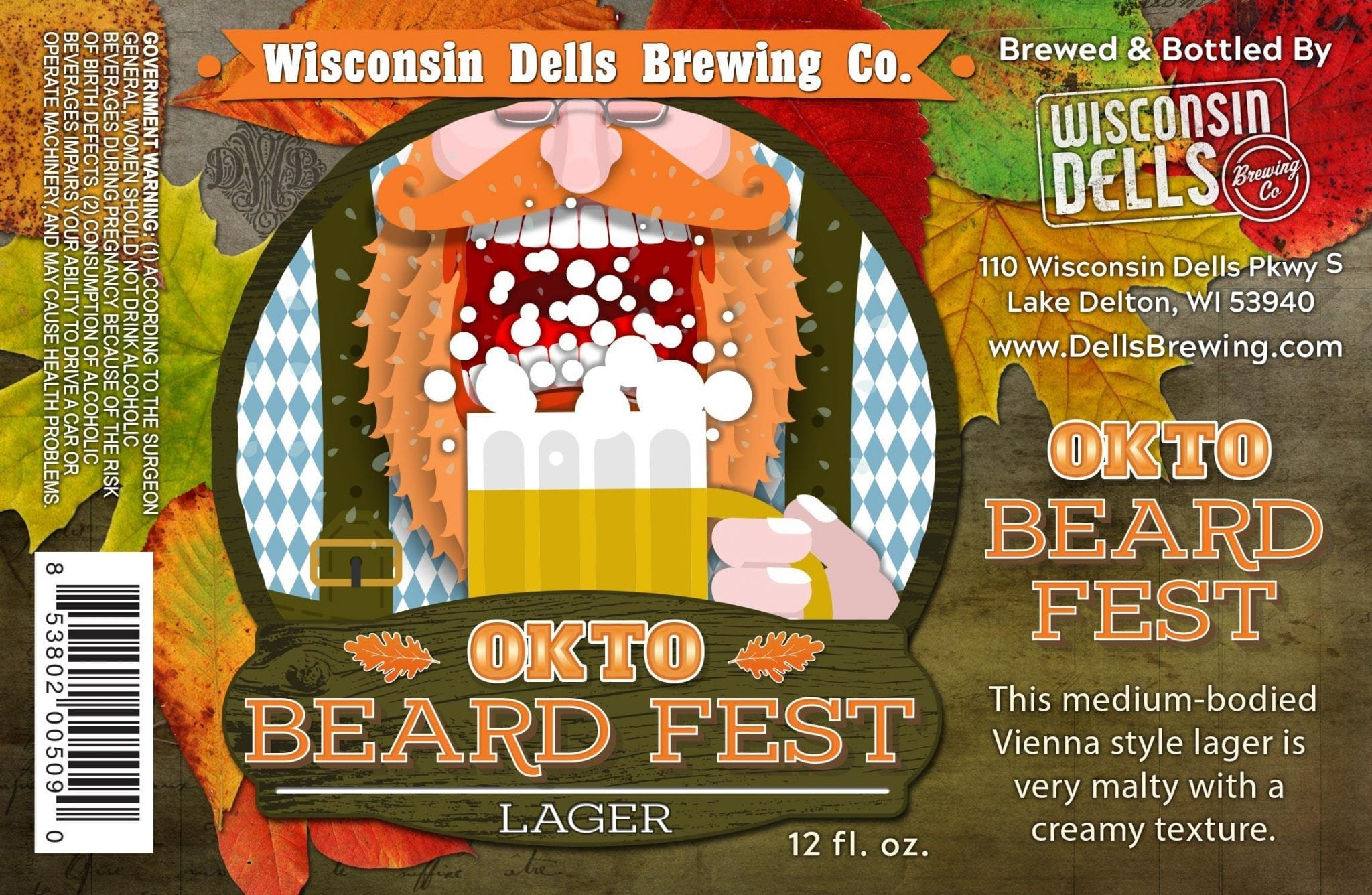 Wisconsin Dells Brewing Co. Okto Beard Fest Label