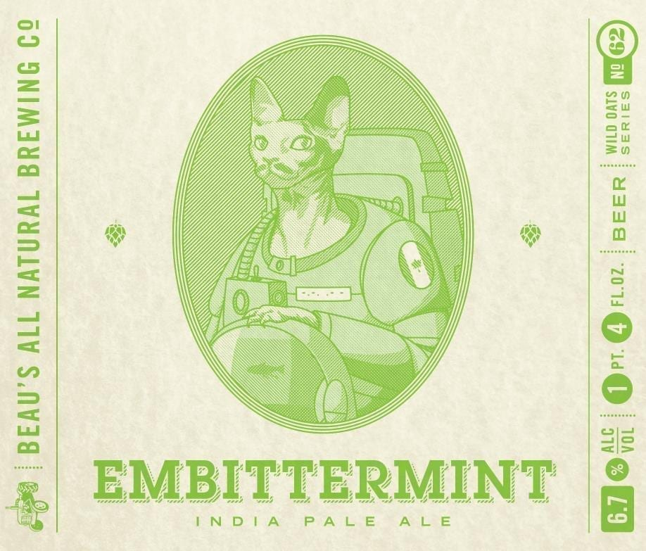 Beau's All Natural Brewing Co Embittermint IPA Beer Label