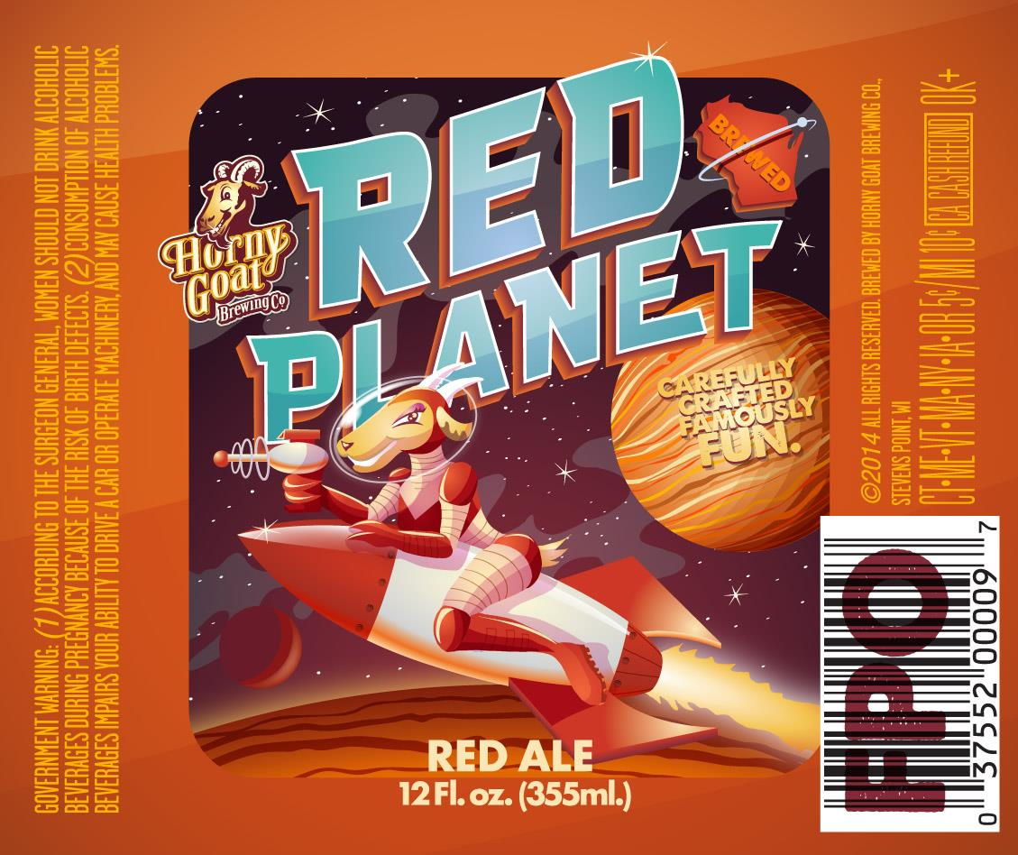 Horny Goat Brewing Red Planet Red Ale Beer Label