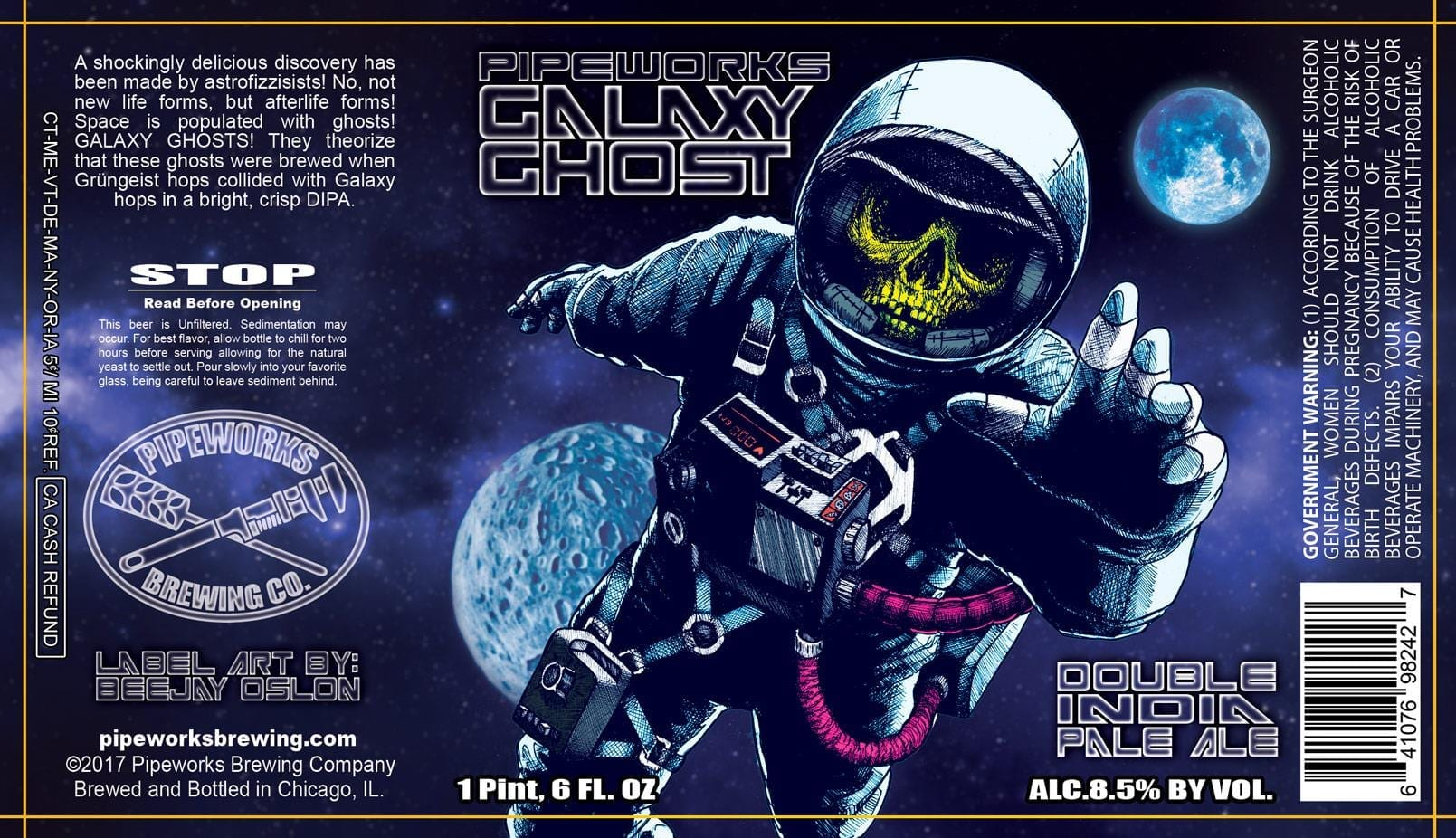 Pipeworks Brewing Company Galaxy Ghost Double IPA Beer Label