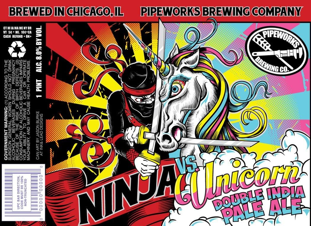 Pipeworks Brewing Ninja Vs Unicorn Double IPA Label