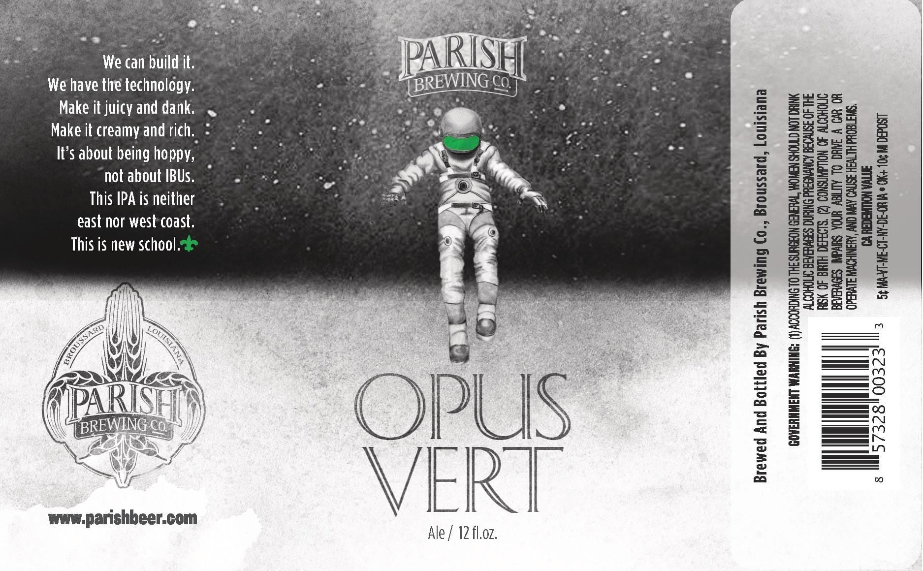 Parrish Brewing Opus Vert IPA Beer Label
