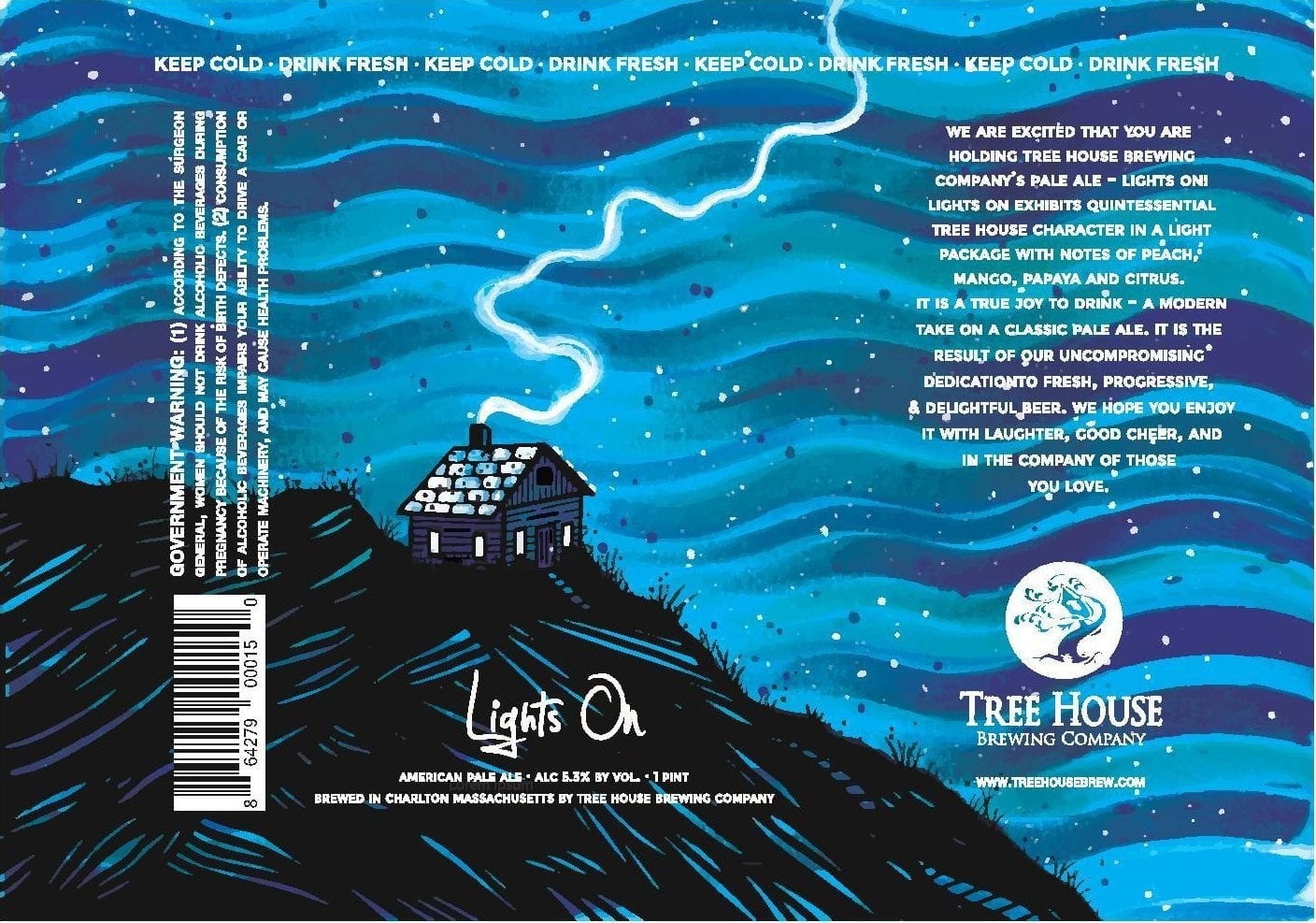 Tree House Brewing Lights On Beer Label