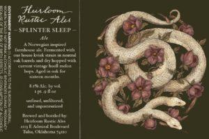Heirloom Rustic Ales Splinter Sleep Farmhouse Ale